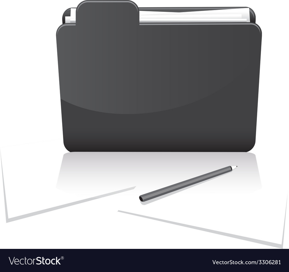 Black folder and paper vector | Price: 1 Credit (USD $1)