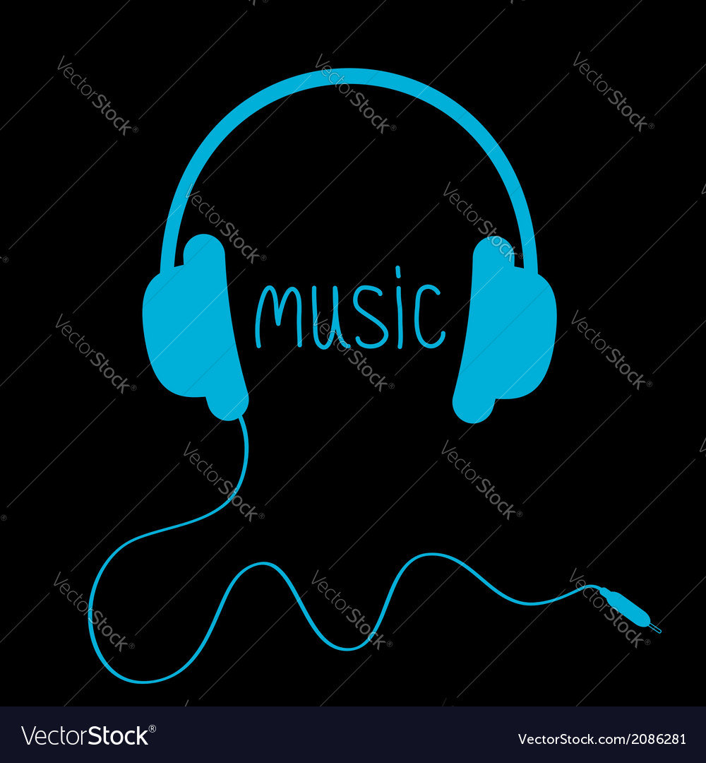 Blue headphones with cord and word music card vector | Price: 1 Credit (USD $1)
