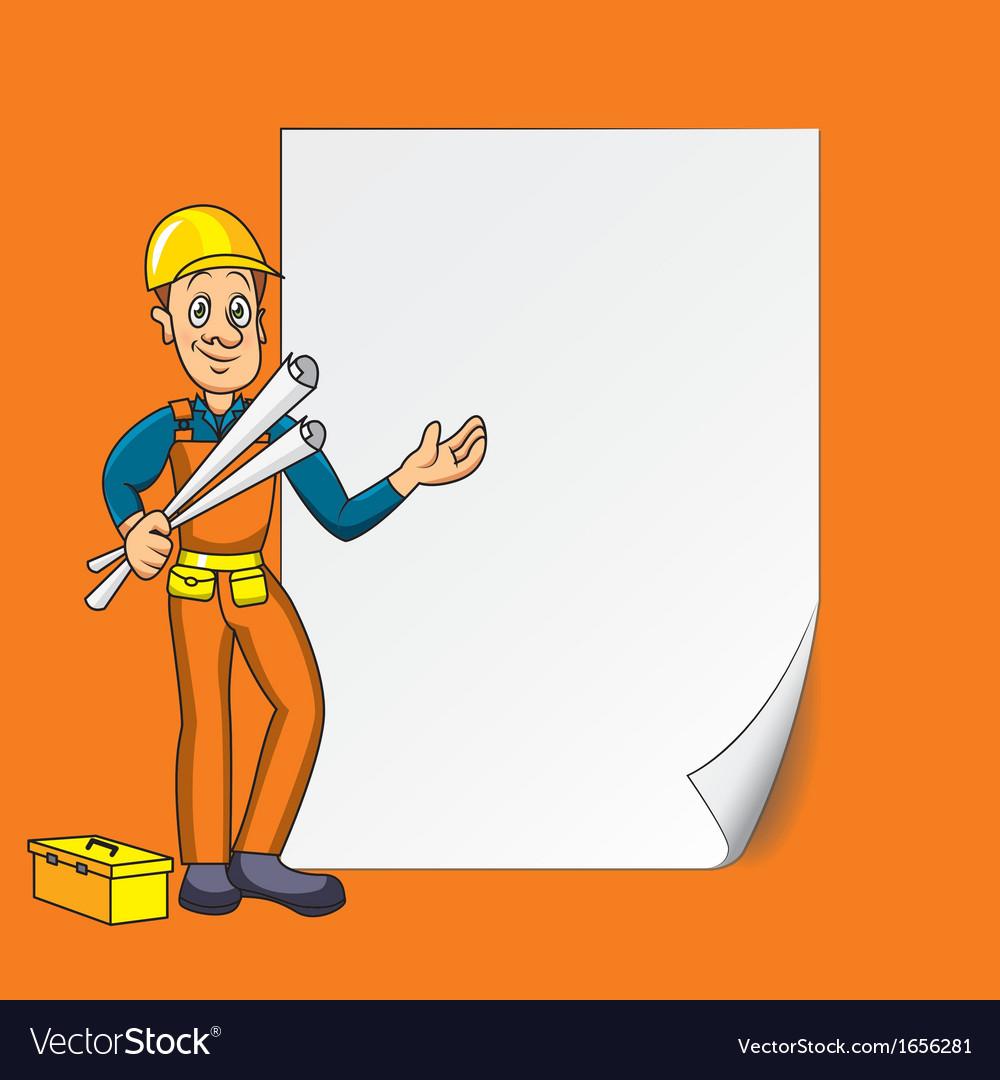 Cartoon engineer blank paper vector | Price: 1 Credit (USD $1)