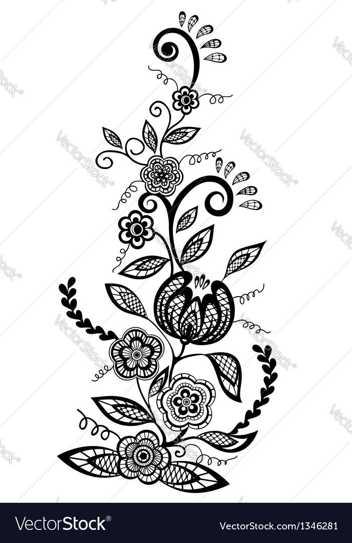 Floral element black-and-white flowers and leaves vector | Price: 1 Credit (USD $1)
