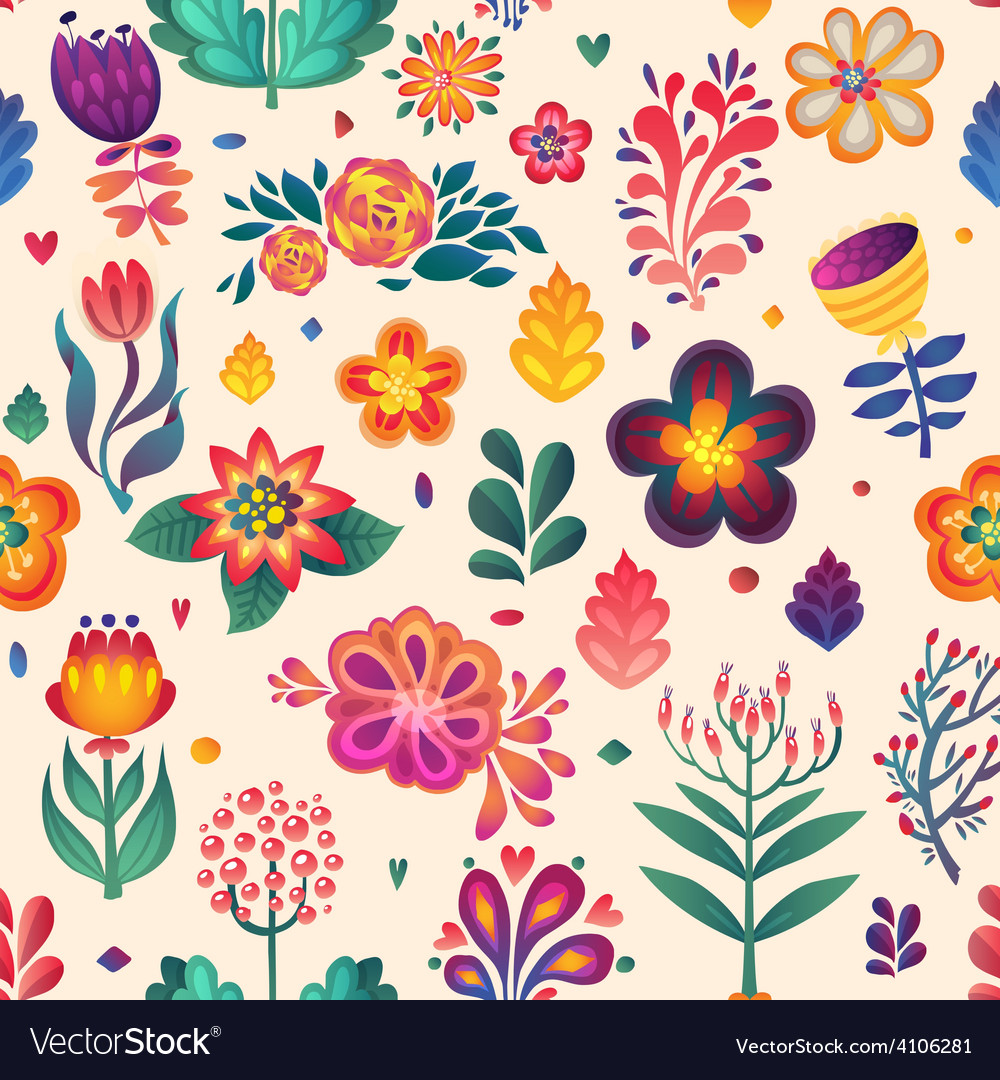 Flowers seamless pattern decorative card doodle p vector | Price: 1 Credit (USD $1)