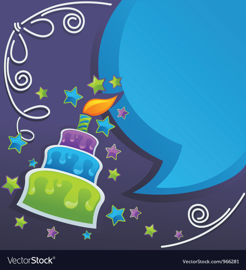 Irthday cake candle and speech bubbles vector | Price: 1 Credit (USD $1)
