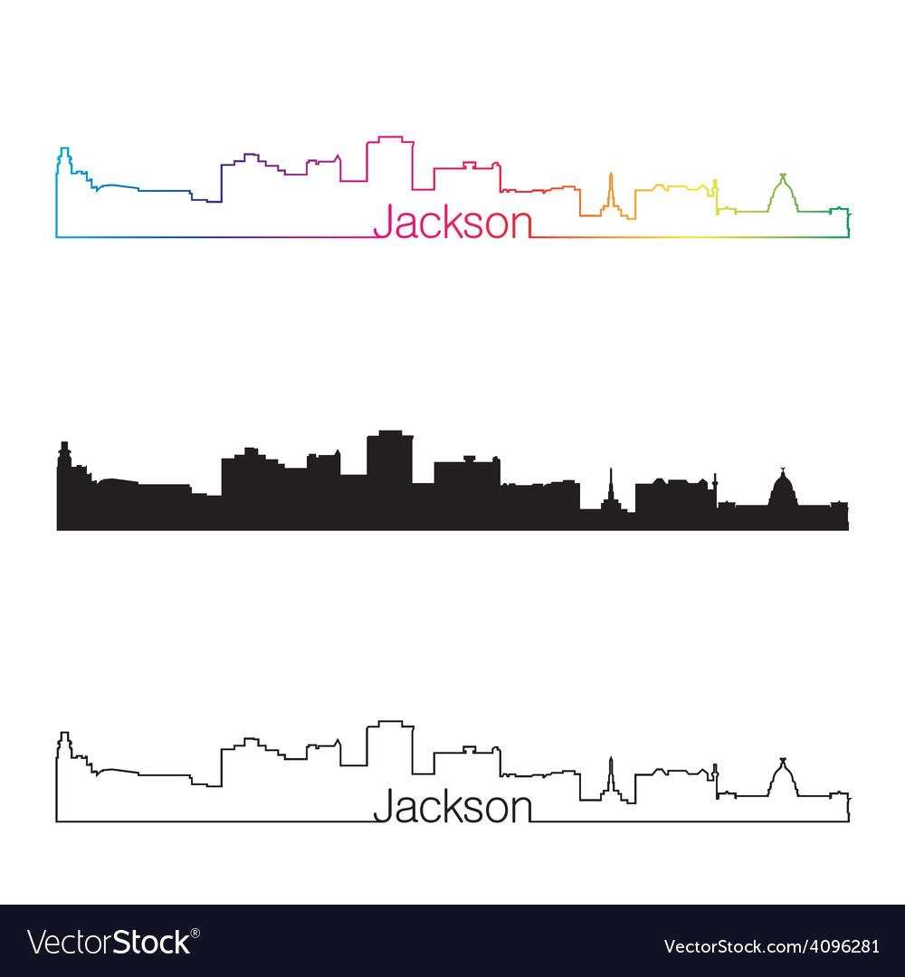 Jackson skyline linear style with rainbow vector | Price: 1 Credit (USD $1)