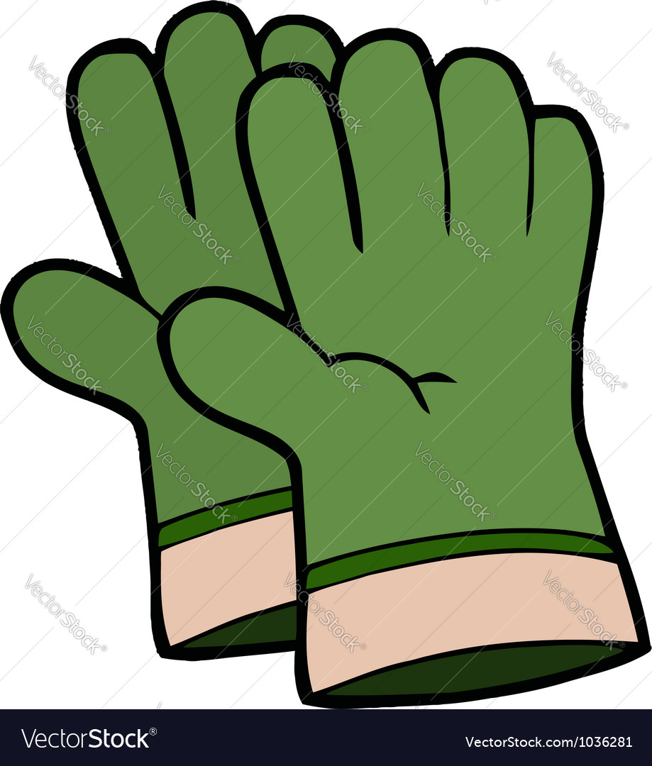 Pair of green gardening hand gloves vector | Price: 1 Credit (USD $1)