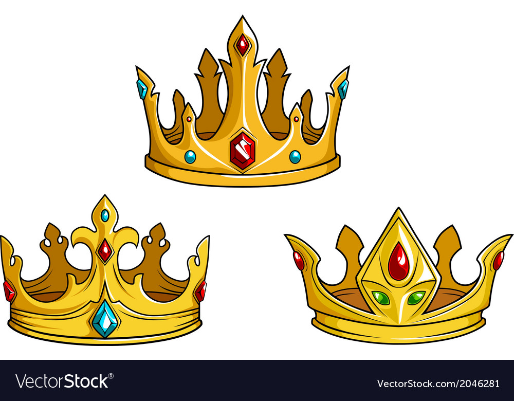 Royal golden crowns with jewelry vector | Price: 1 Credit (USD $1)