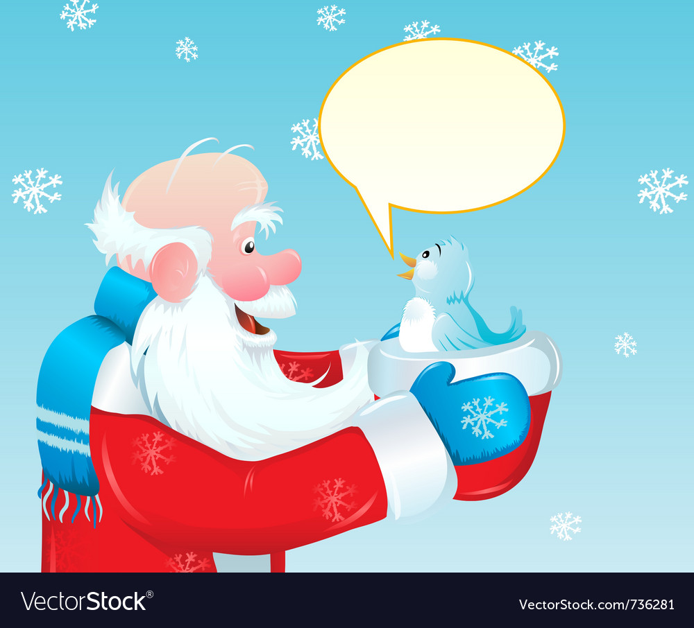 Santa claus talking to blue bird vector | Price: 1 Credit (USD $1)