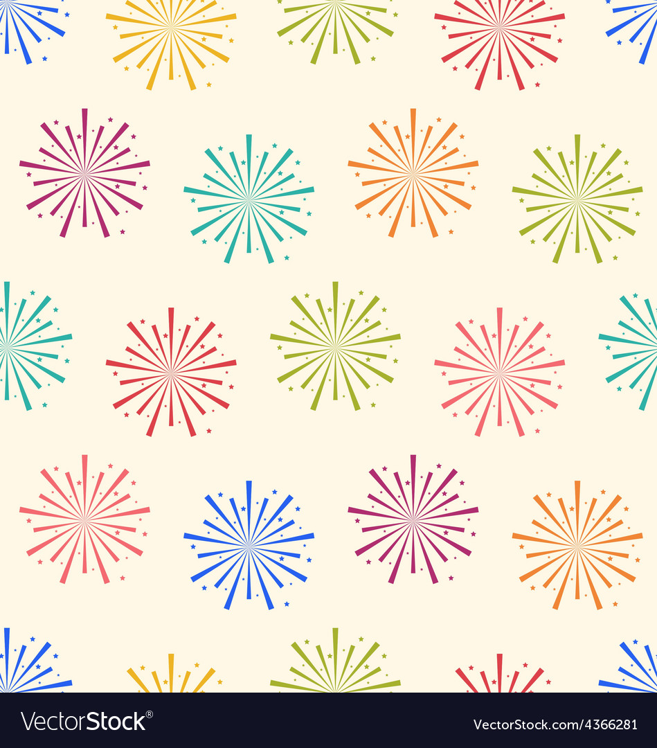 Seamless pattern colorful firework for holiday vector | Price: 1 Credit (USD $1)