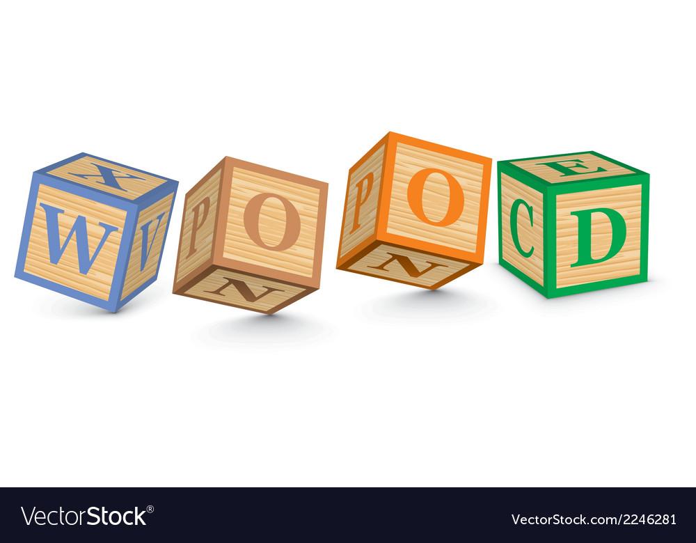 Word wood written with alphabet blocks vector | Price: 1 Credit (USD $1)