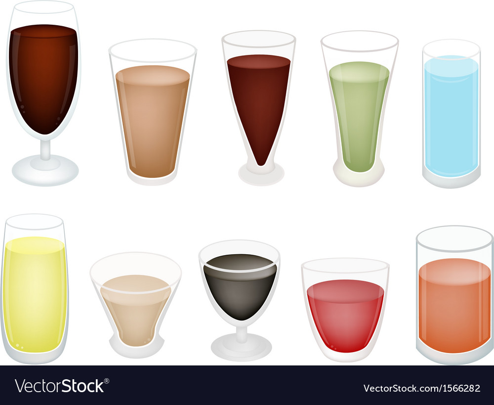 A set of refreshing sweet drink in glass vector | Price: 1 Credit (USD $1)