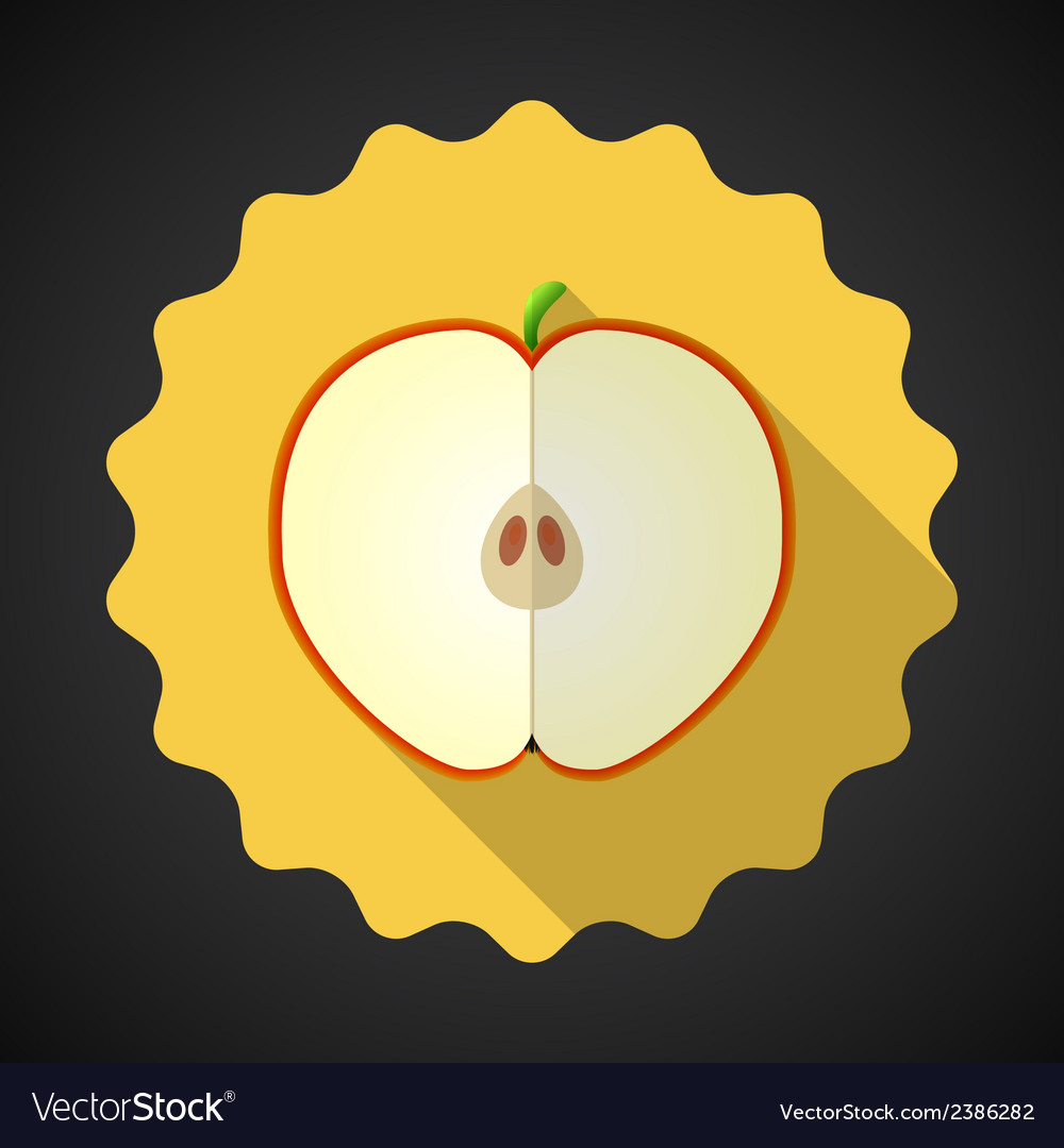 Apple fruit flat icon with long shadow vector | Price: 1 Credit (USD $1)