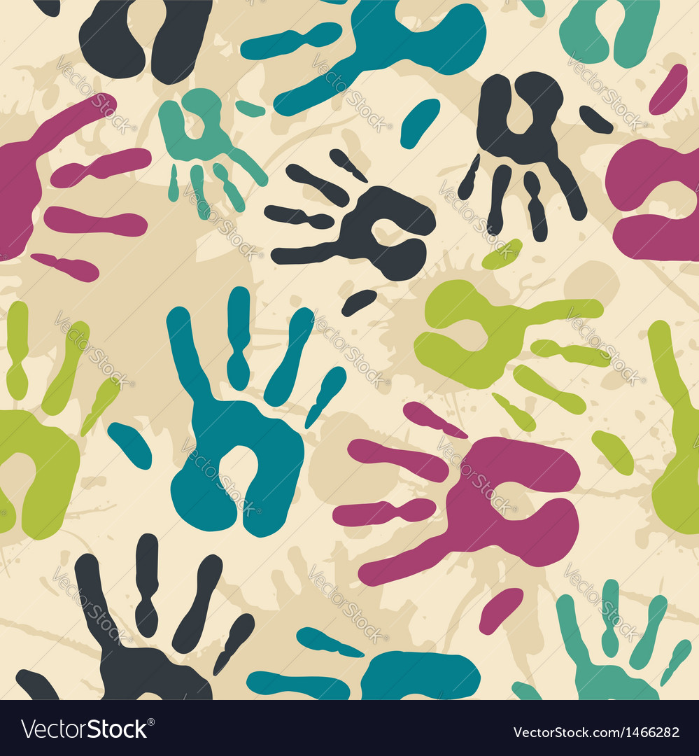 Diversity vintage hand prints pattern vector | Price: 1 Credit (USD $1)