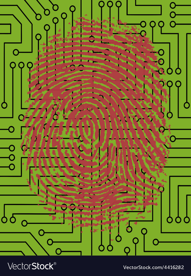 Fingerprint pressed onto a digital circuit board vector | Price: 1 Credit (USD $1)
