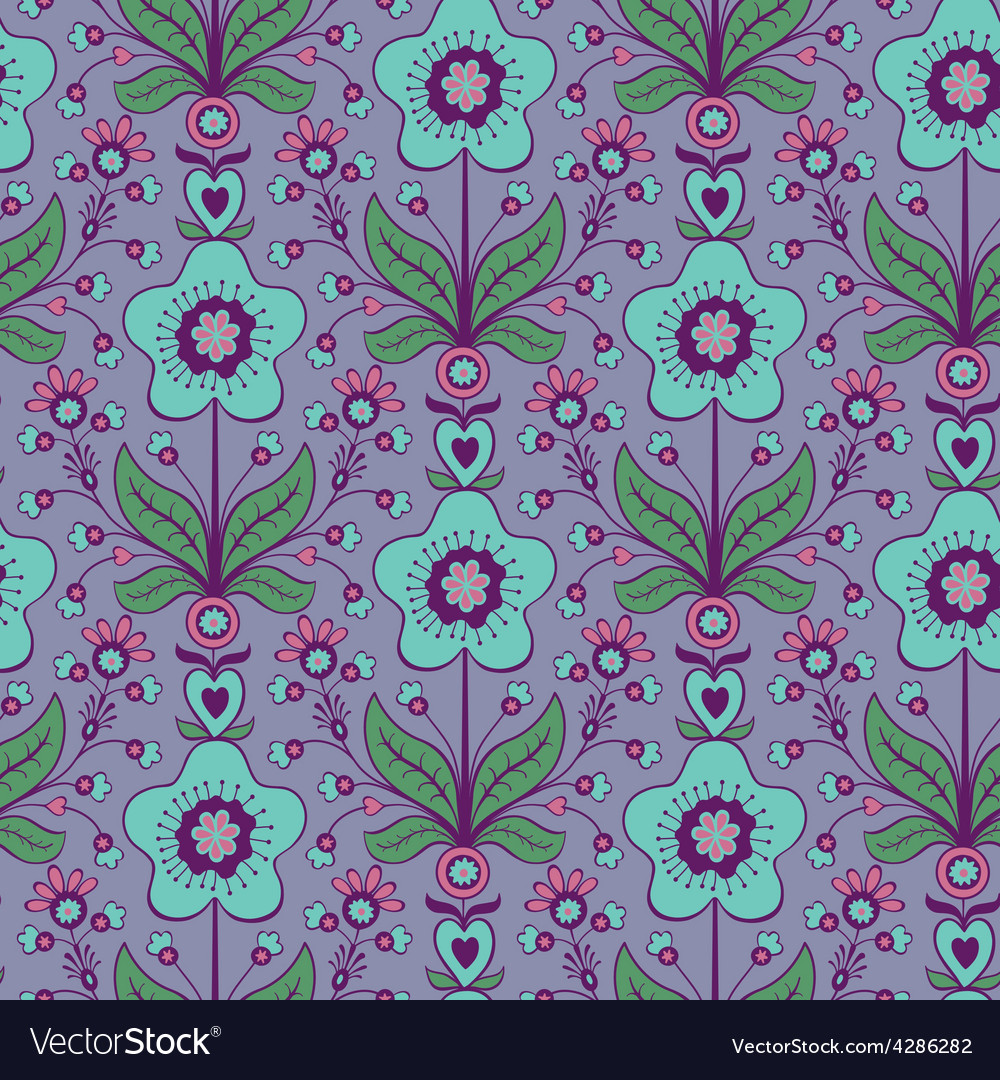 Floral decorative seamless pattern vector | Price: 1 Credit (USD $1)