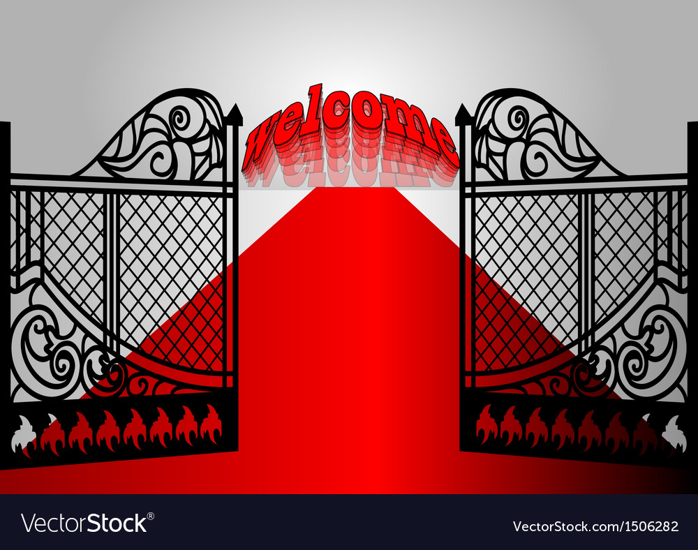 Gate with inscription welcome vector | Price: 1 Credit (USD $1)