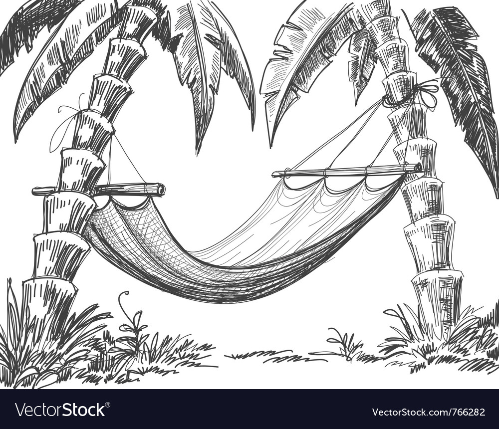 Hammock and palm trees drawing vector | Price: 1 Credit (USD $1)