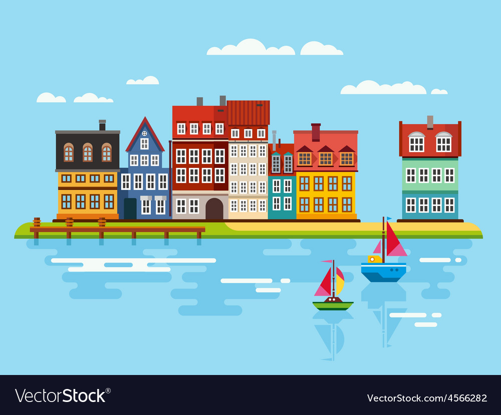 Harbor waterfront with boats on river vector | Price: 1 Credit (USD $1)