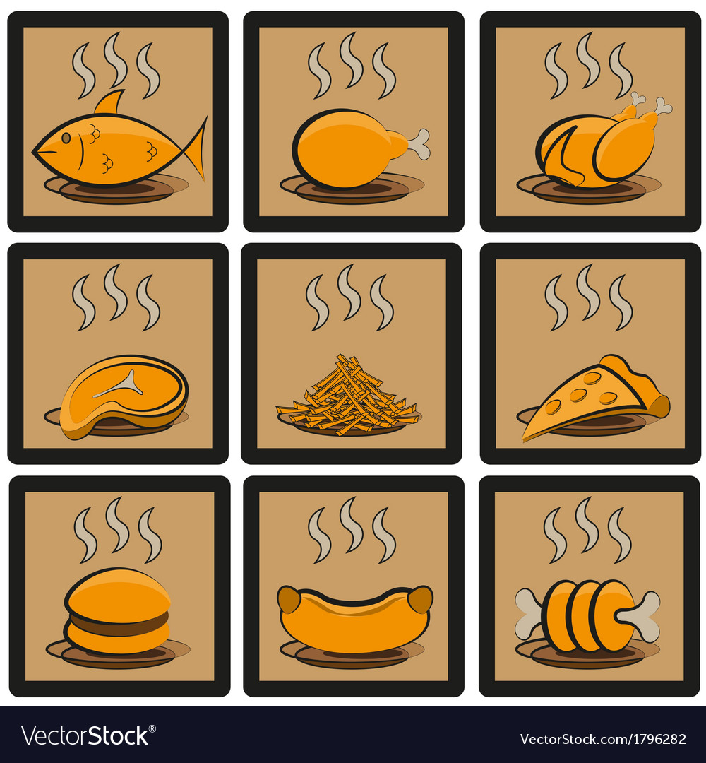Meal icons set vector | Price: 1 Credit (USD $1)