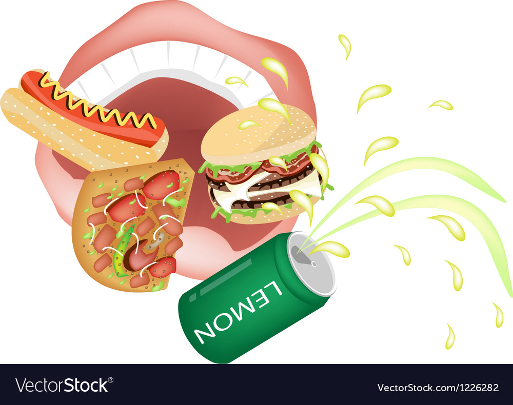 Person eating unhealthy fast food vector | Price: 3 Credit (USD $3)