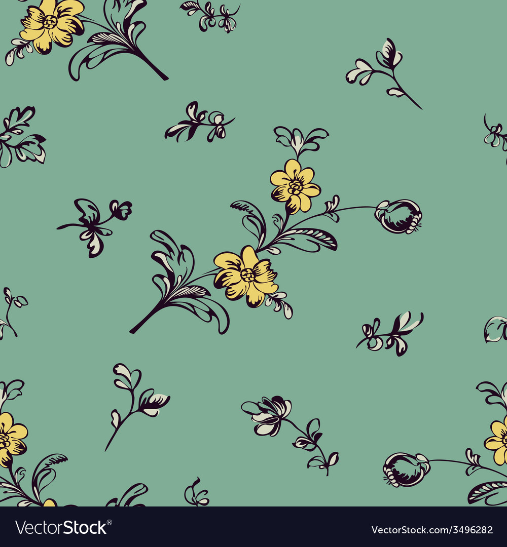 Seamless pattern flower green vector | Price: 1 Credit (USD $1)