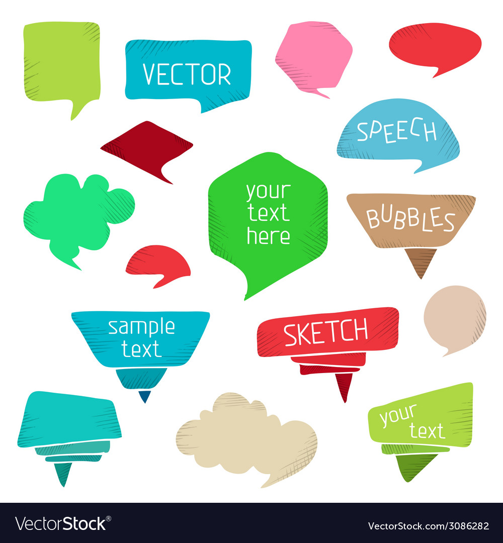 Set of colourful speech bubbles vector | Price: 1 Credit (USD $1)