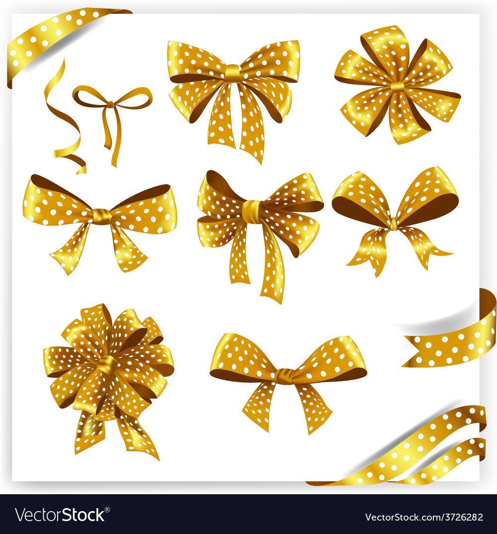 Set of gold polka dot gift bows with ribbons vector | Price: 1 Credit (USD $1)
