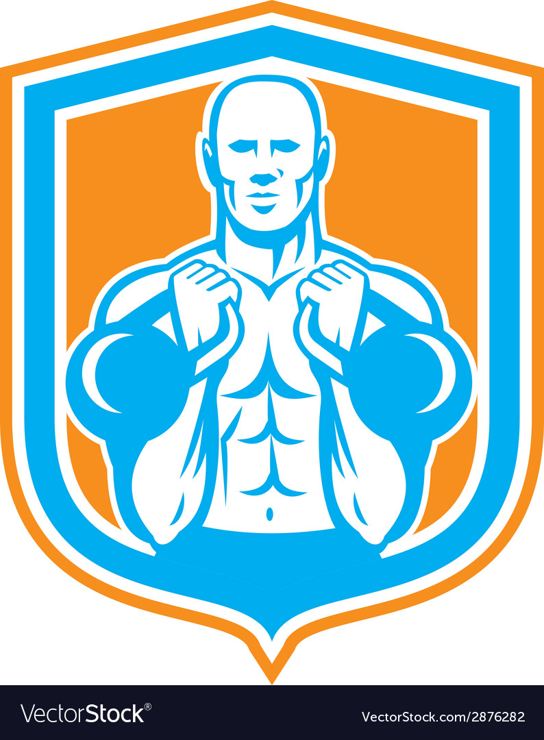 Weightlifter lifting kettlebell shield retro vector | Price: 1 Credit (USD $1)