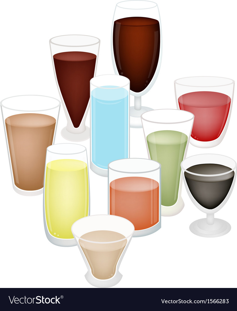 A set of refreshing drink in glass vector | Price: 1 Credit (USD $1)