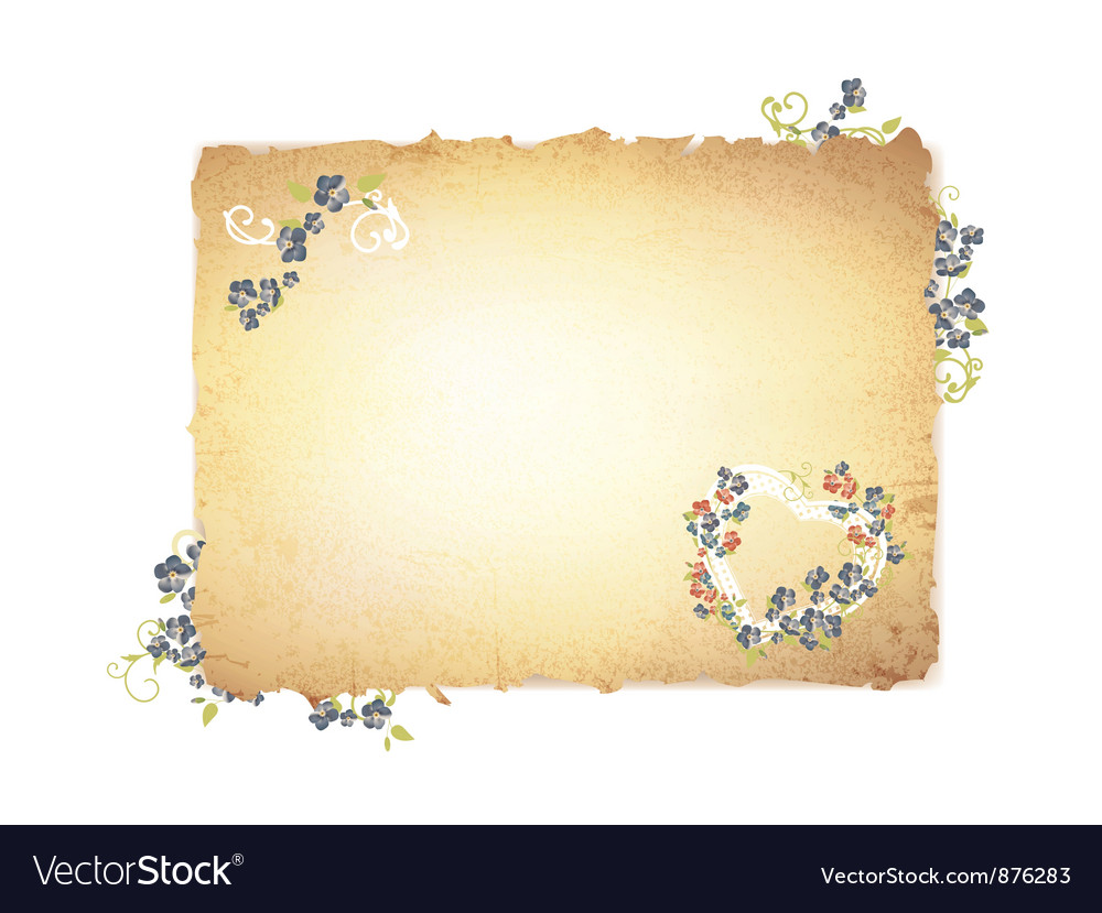 Burnt paper with forget me not flowers vector | Price: 1 Credit (USD $1)