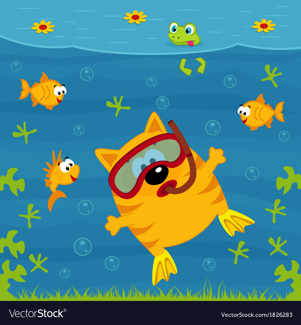 Cat diver vector | Price: 1 Credit (USD $1)