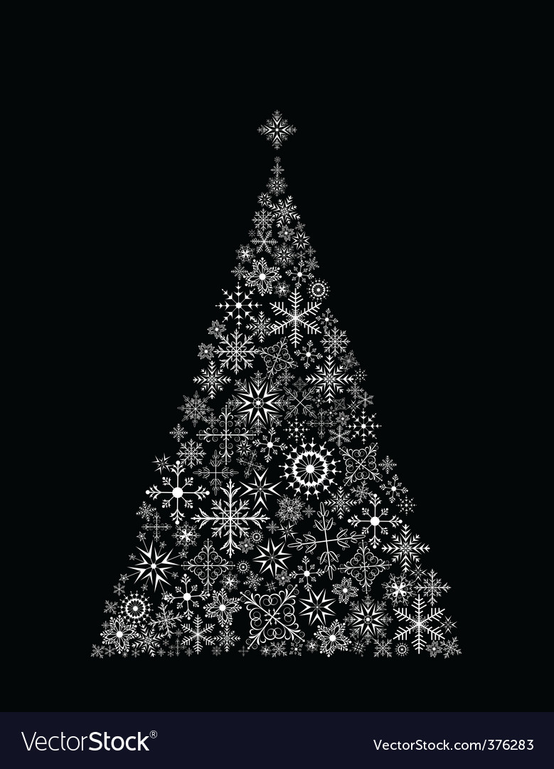 Christmas tree made of snowflake vector | Price: 1 Credit (USD $1)