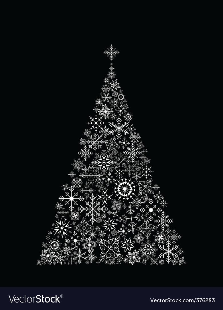 Christmas tree made of snowflake vector | Price: 1 Credit (USD $1)