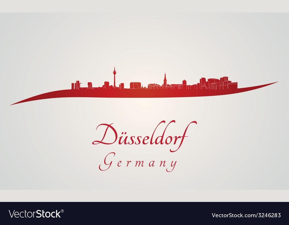 Dusseldorf skyline in red vector | Price: 1 Credit (USD $1)