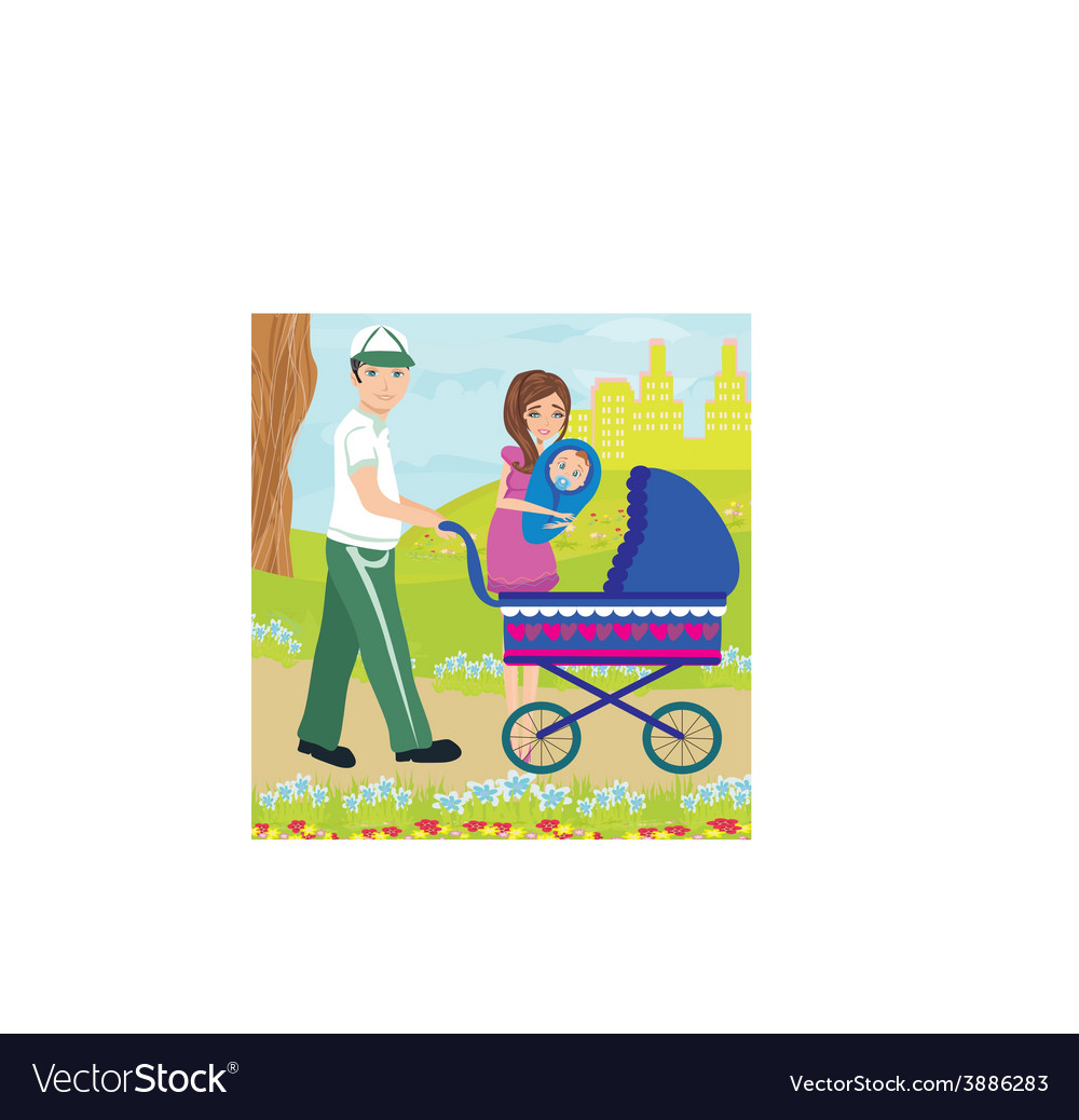 Family for a walk on a sunny day vector | Price: 1 Credit (USD $1)