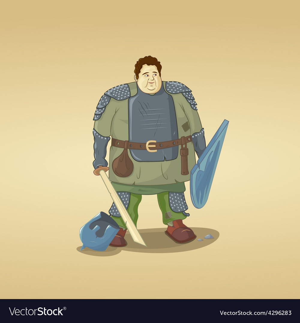 Fat guy dressed as a knight vector | Price: 3 Credit (USD $3)