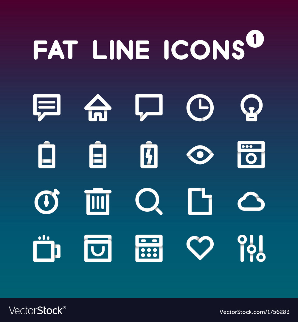 Fat line icons set 1 vector | Price: 1 Credit (USD $1)