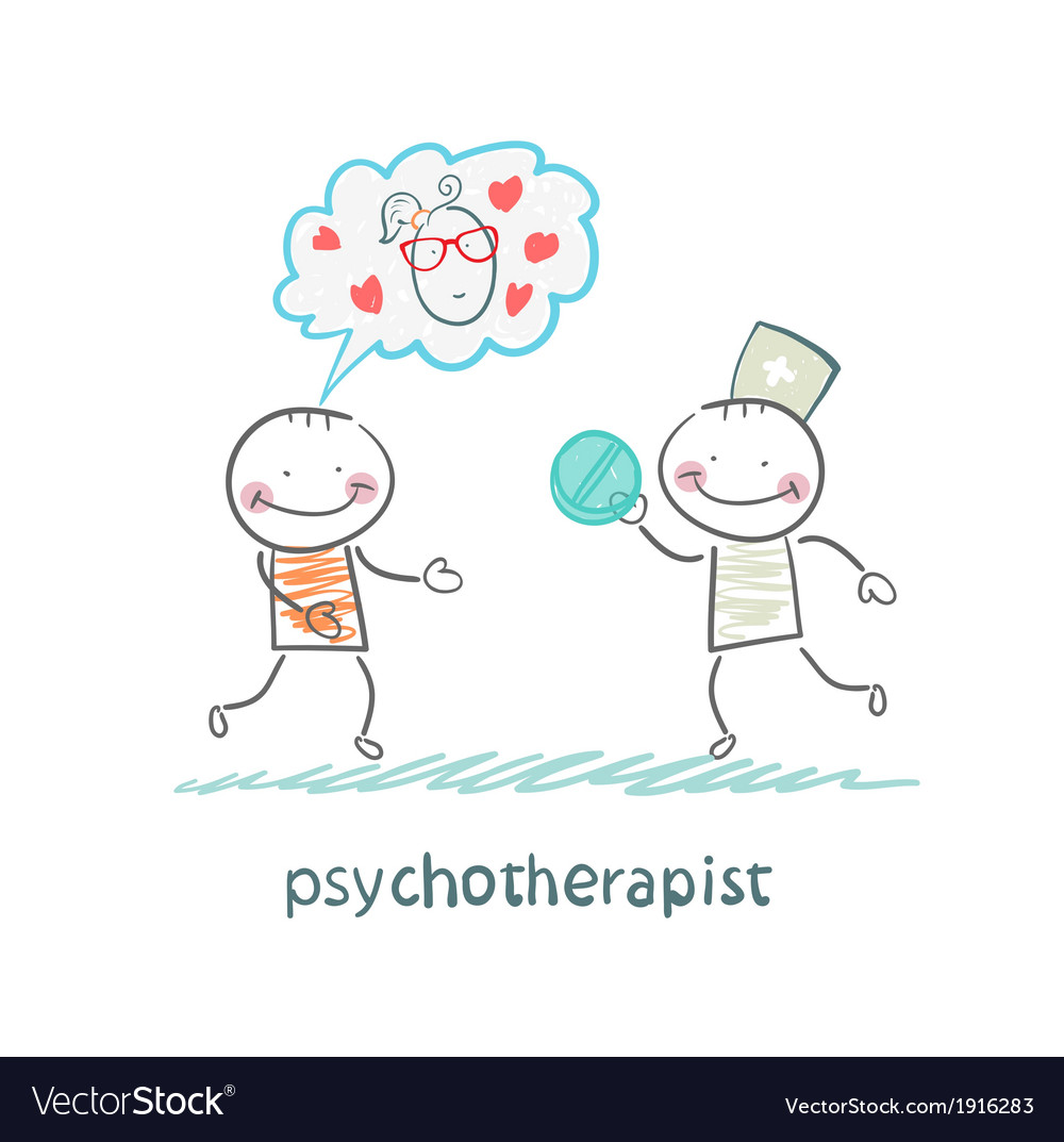 Psychotherapist gives the patient a pill vector | Price: 1 Credit (USD $1)