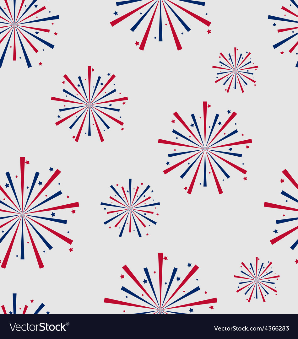 Seamless pattern firework for independence day of vector | Price: 1 Credit (USD $1)