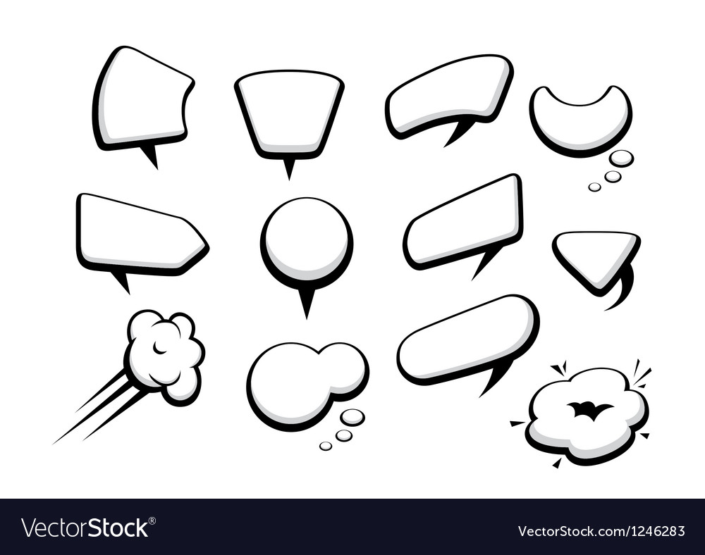 Set of many comic cartoon style speech bubbles vector | Price: 1 Credit (USD $1)