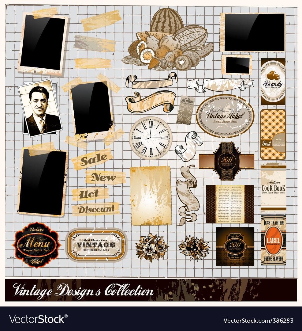 Vintage elements collection vector | Price: 3 Credit (USD $3)