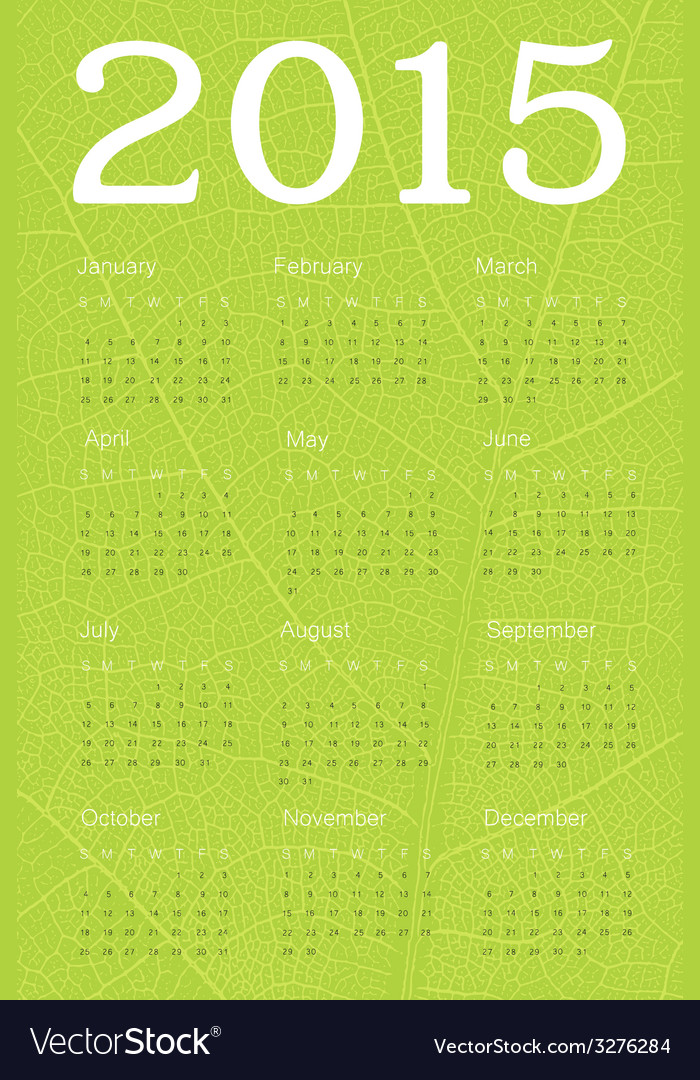 2015 calendar ecology concept vector | Price: 1 Credit (USD $1)