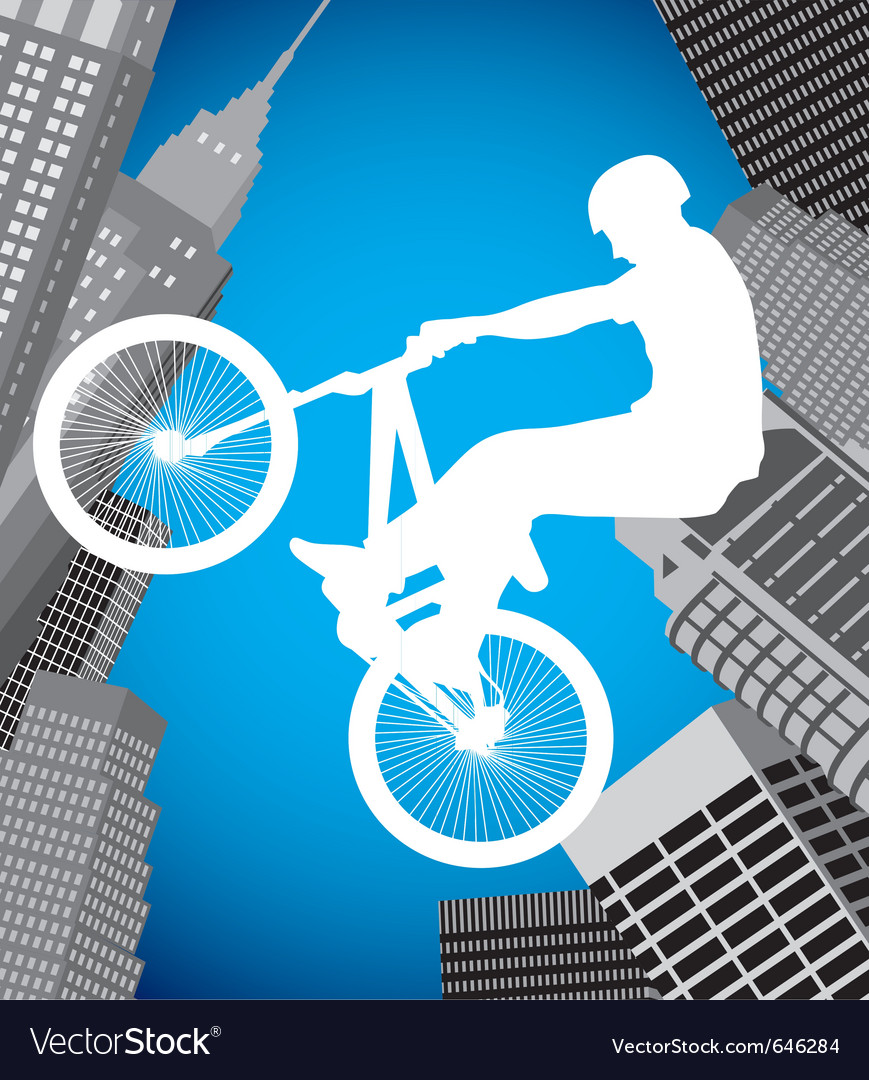 Cyclist on a city background vector   Price: 1 Credit (USD $1)