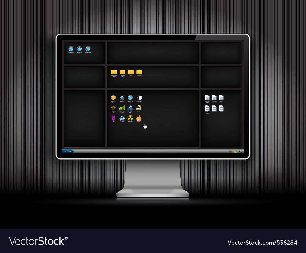 Dark desktop background with shelfs vector | Price: 1 Credit (USD $1)
