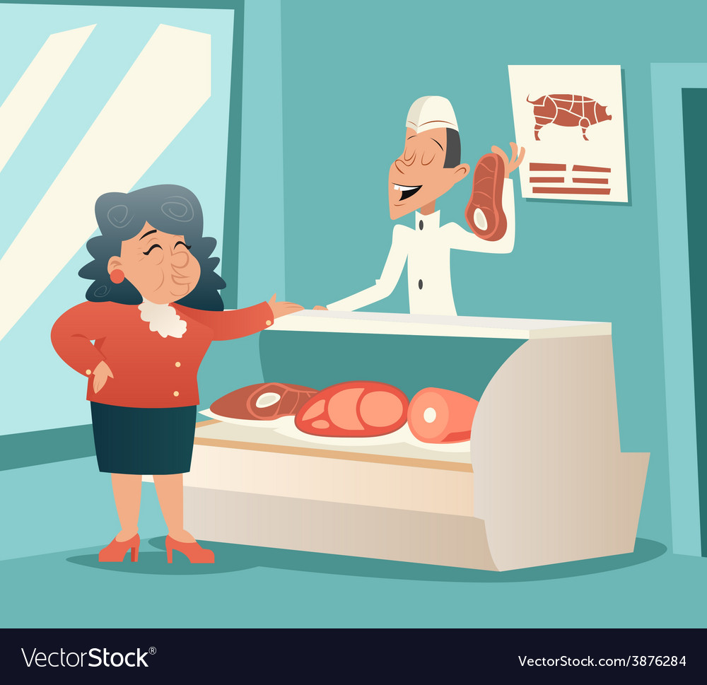 Granny old woman in meat shop talk with seller vector | Price: 1 Credit (USD $1)