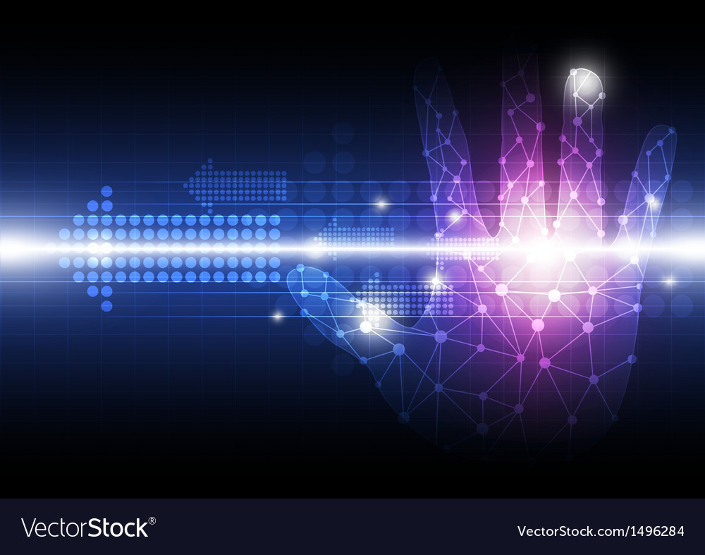 Network hand with digital background vector | Price: 1 Credit (USD $1)