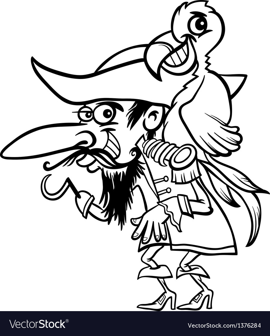 Pirate with parrot for coloring book vector | Price: 1 Credit (USD $1)