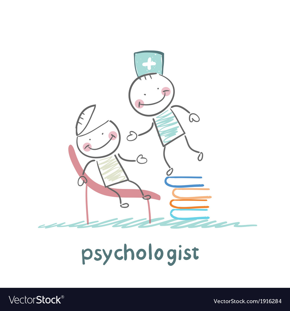 Psychologist is on a stack of books and looks vector | Price: 1 Credit (USD $1)