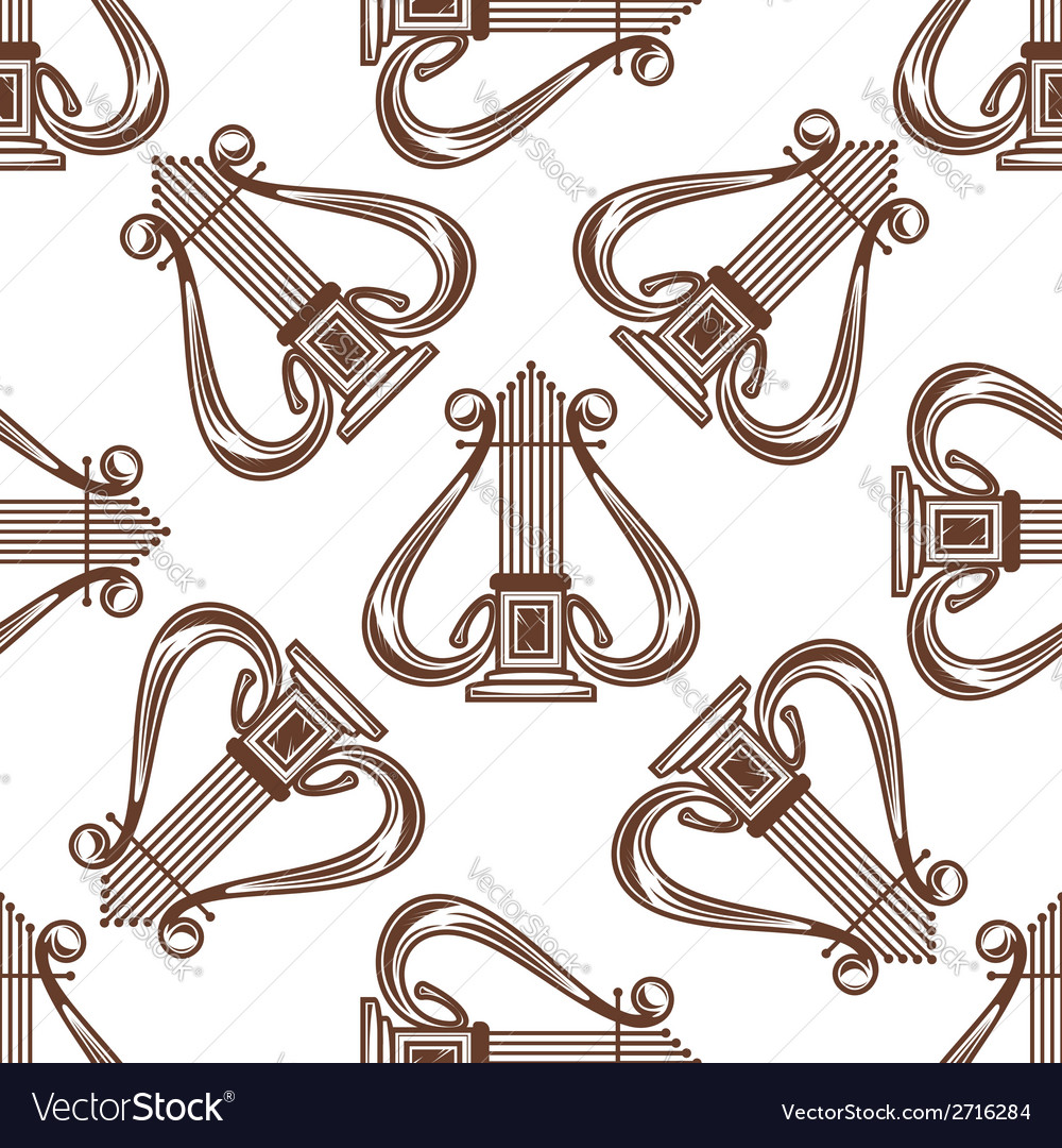 Seamless musical harp pattern vector | Price: 1 Credit (USD $1)
