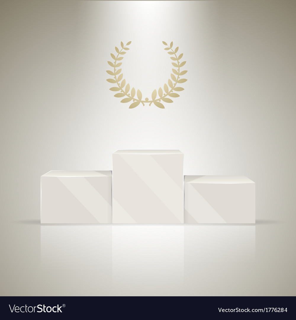 Sport winners pedestal with laurel wreath vector | Price: 1 Credit (USD $1)