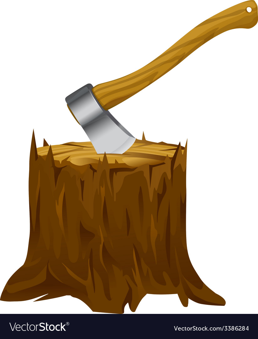 Stump with axe vector | Price: 1 Credit (USD $1)