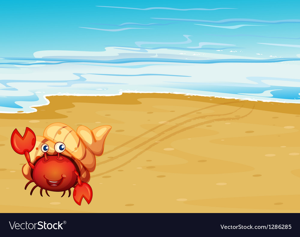 A red crab with a shell at the seashore vector | Price: 1 Credit (USD $1)